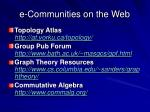 e communities on the web