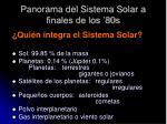 panorama del sistema solar a finales de los 80s
