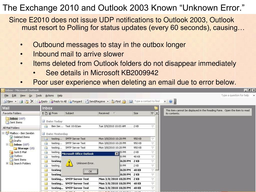 "The Exchange 2010 and Outlook 2003 Known ""Unknown Error."""