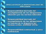 regulacion de la responsabilidad del empleador