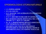 epidemiologia e storia naturale