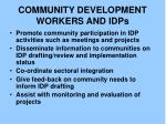community development workers and idps
