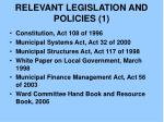 relevant legislation and policies 1