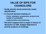 value of idps for councilors
