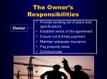 the owner s responsibilities