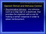 operant stimuli and stimulus control