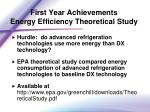 first year achievements energy efficiency theoretical study