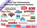 first year achievements greenchill supermarket partners