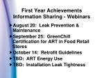 first year achievements information sharing webinars