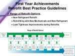 first year achievements retrofit best practice guidelines