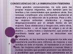 consecuencias de la inmigracion femenina