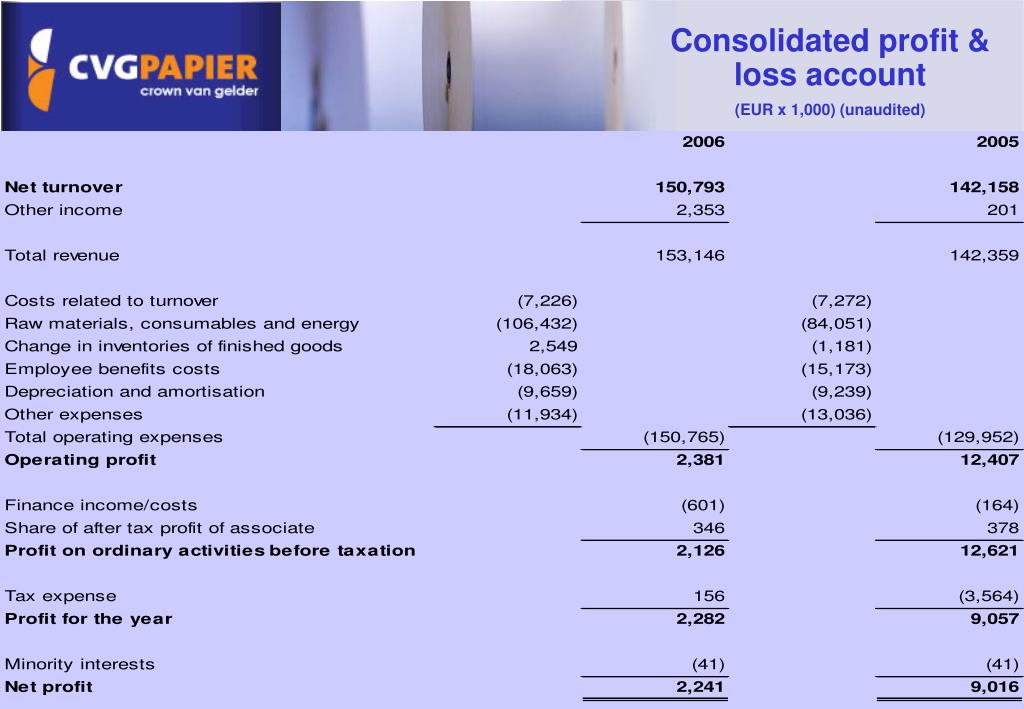 Consolidated profit & loss account