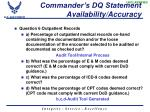 commander s dq statement availability accuracy