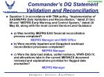 commander s dq statement validation and reconciliation