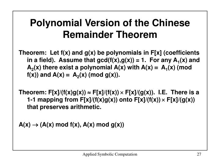 Polynomial Version of the Chinese Remainder Theorem