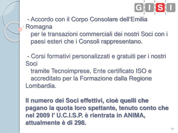 - Accordo con il Corpo Consolare dell'Emilia Romagna