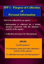 ipp 1 purpose of collection of personal information