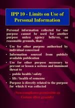 ipp 10 limits on use of personal information