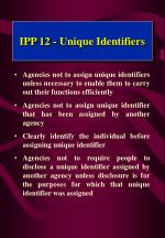 ipp 12 unique identifiers