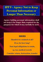 ipp 9 agency not to keep personal information or longer than necessary