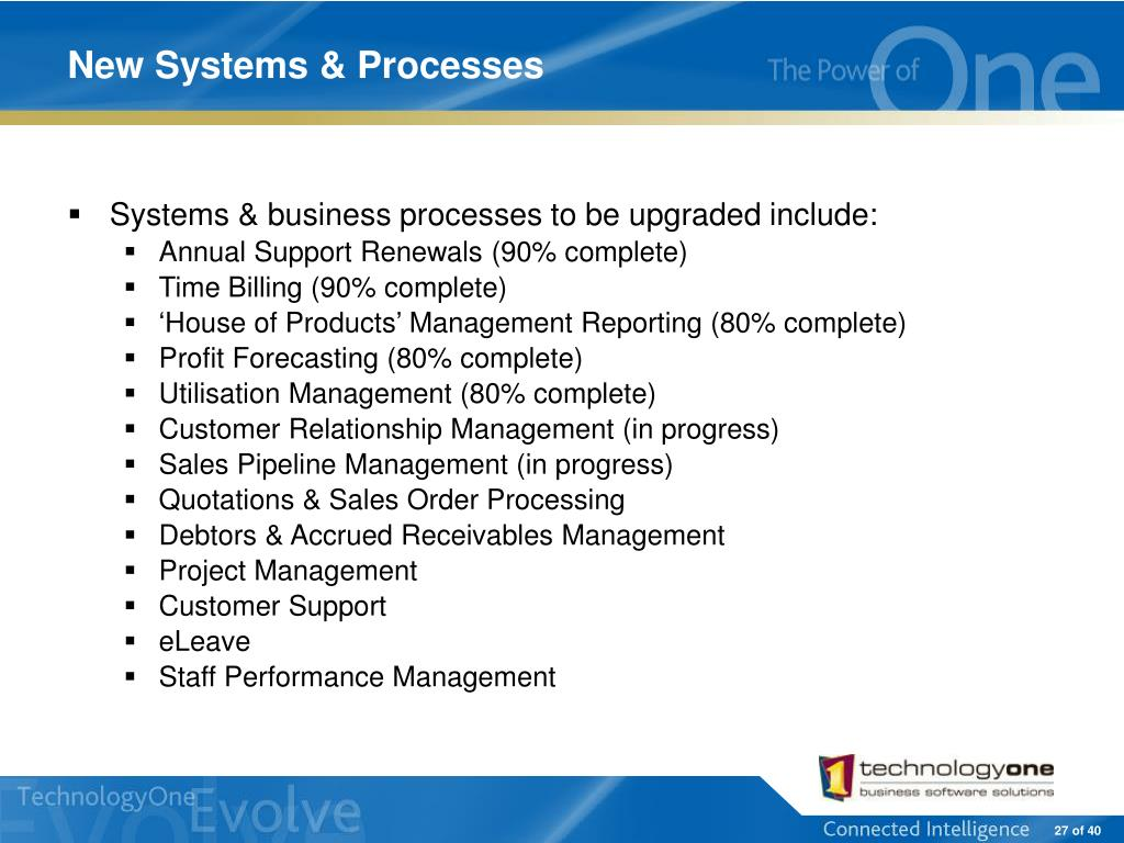 New Systems & Processes