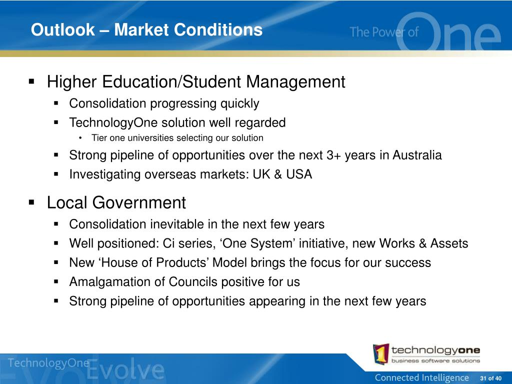 Outlook – Market Conditions