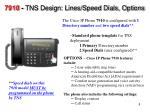 7910 tns design lines speed dials options