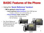 basic features of the phone