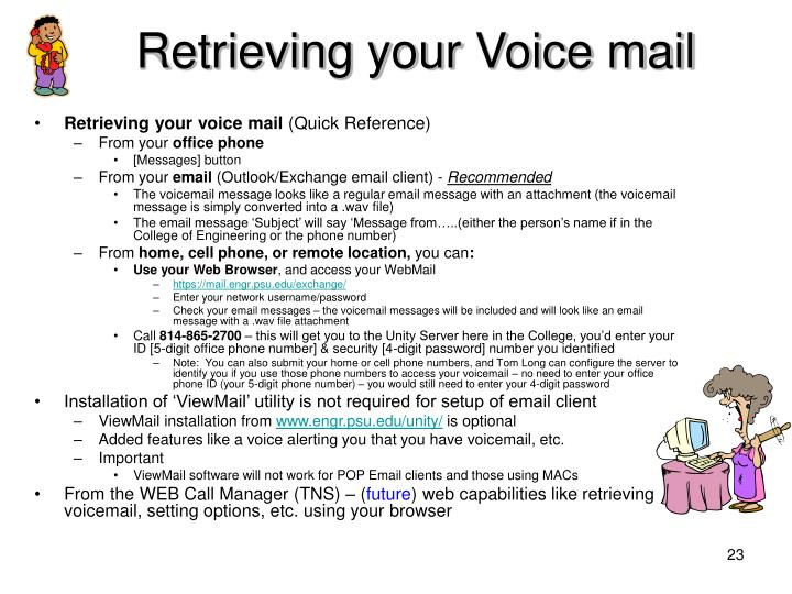 Retrieving your Voice mail