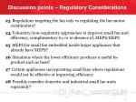 discussion points regulatory considerations