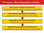 e3 program who s responsible in australia