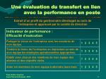 une valuation du transfert en lien avec la performance en poste