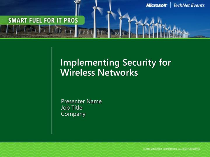 implementing security for wireless networks n.