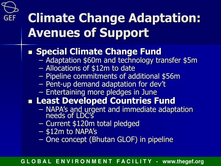 Climate Change Adaptation:  Avenues of Support