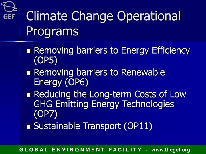 Climate change operational programs