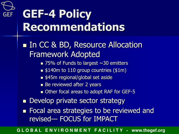 GEF-4 Policy Recommendations