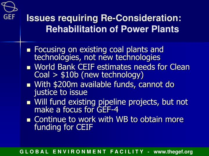 Issues requiring Re-Consideration: