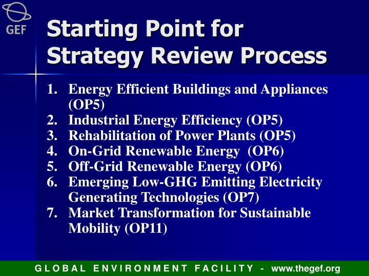 Starting Point for Strategy Review Process