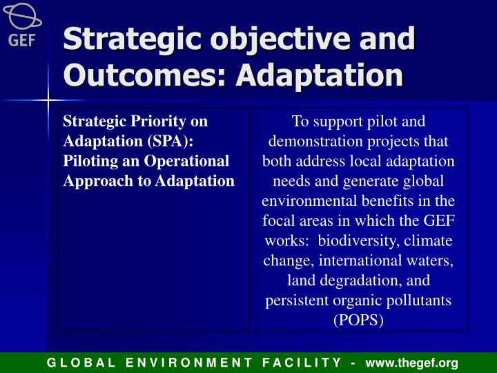 Strategic objective and Outcomes: Adaptation