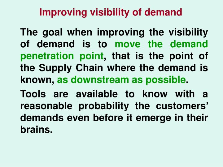 Improving visibility of demand
