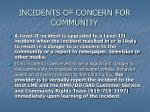 incidents of concern for community