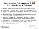 contractor and sub contractor shem committee terms of reference