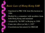 basic law of hong kong sar