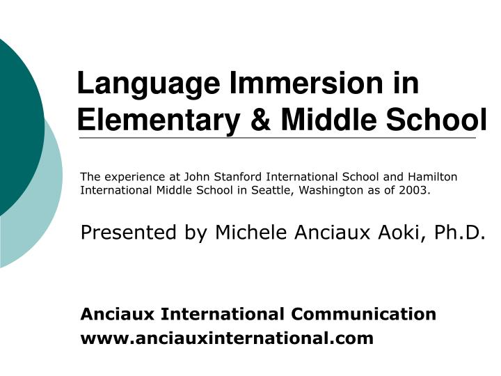language immersion in elementary middle school n.
