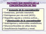 factores que modifican la concentraci n de tbg