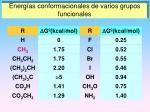 energ as conformacionales de varios grupos funcionales