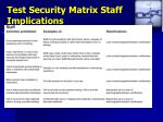 test security matrix staff implications