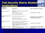 test security matrix student implications