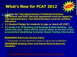 what s new for fcat 2012