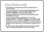 class policies cntd